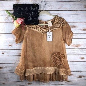 Pretty Angel crochet rosette sheer keyhole top